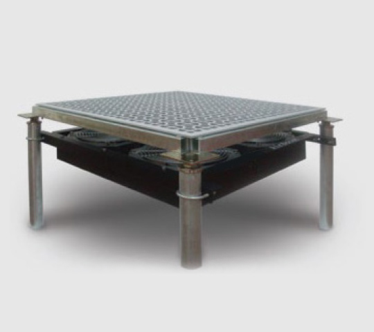 Airboost Under Floor Fan System with raised floor high flow tile