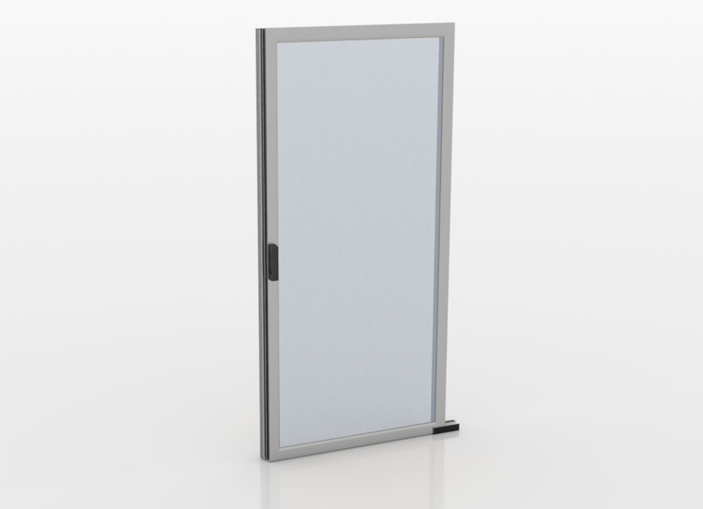 A Single sliding door for aisle containment in closed position