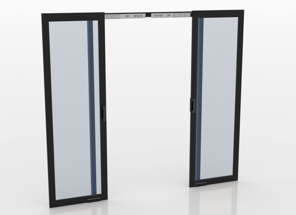 Sliding double door for aisle containment in open position