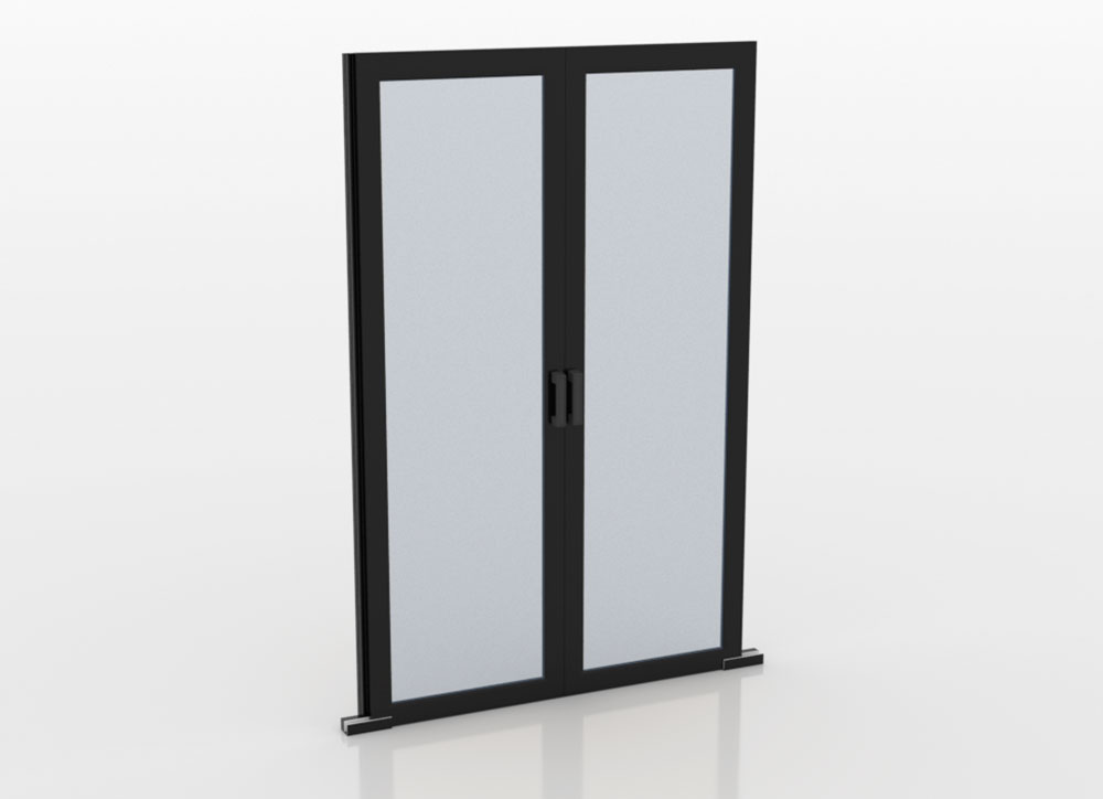 Sliding double door for aisle containment in closed position