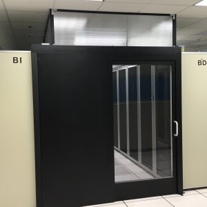 sliding containment door in data center - rendering