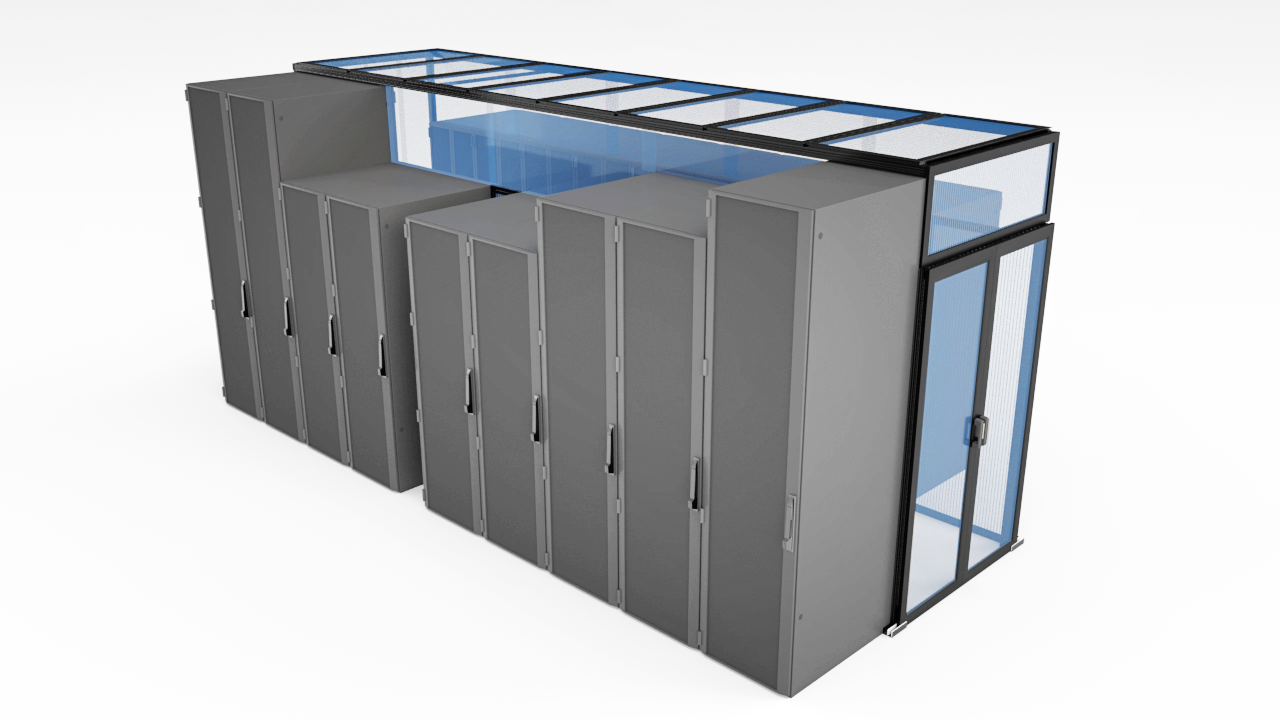 Aisle containment system with server cabinets and double sliding doors