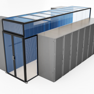 Double sliding door and aisle containment ceiling system rendering