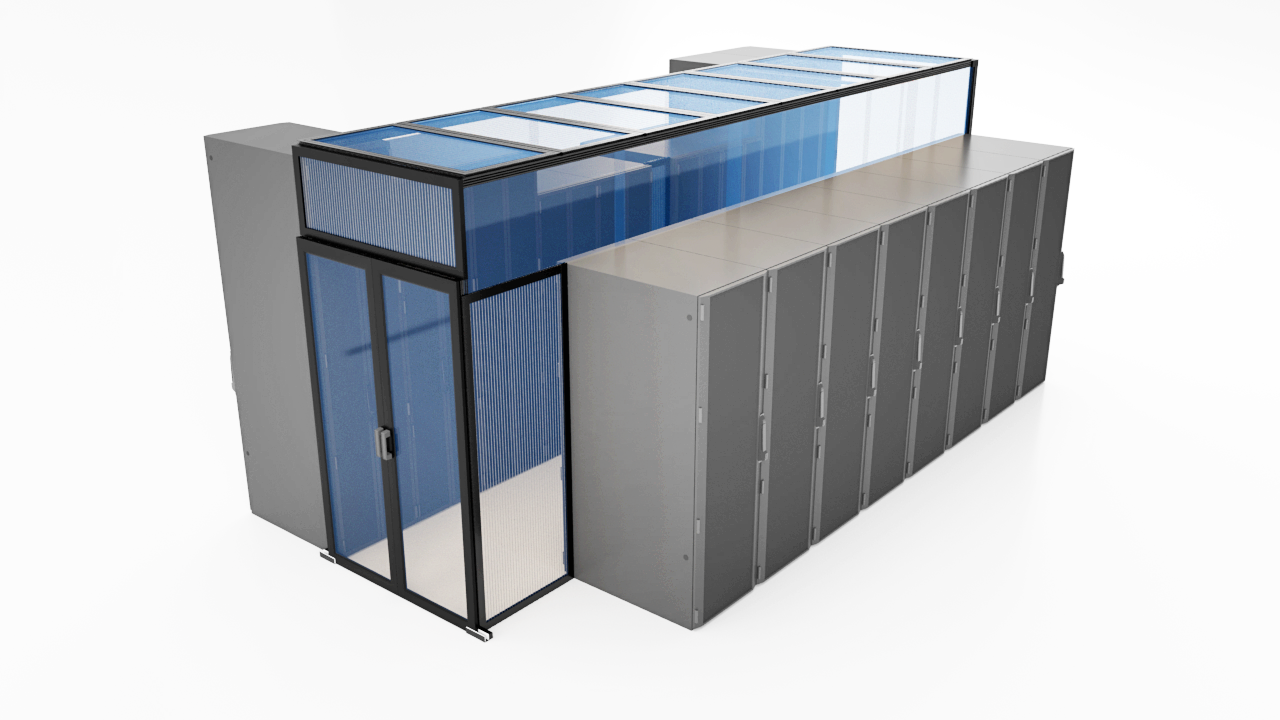 Aisle containment system using double sliding doors