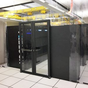 Double Sliding Containment door with strip panels in data center