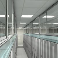 single aisle containment system with barrier panel, interior rendering