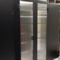 hinged containment doors on cold aisle system