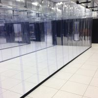 overlapping strip curtains being using in a data center