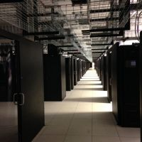 data center with contaiment systems using sliding doors