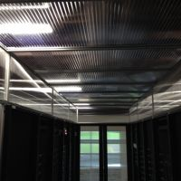 thermal drop ceiling panels within hot aisle containment system, interior view