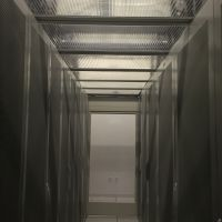 Data Center Server with thermal drop away containment panels in ceiling