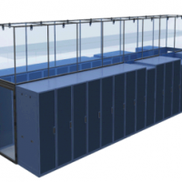 sliding vertical panels on blue aisle rendering