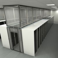 sliding vertical panels in cold aisle rendering, top view